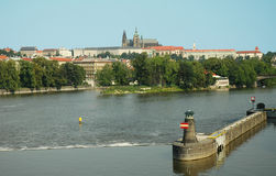 Prague riverside panorama Stock Image