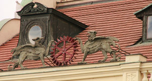 Prague roof decor Stock Photo