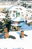 Prague roof with snow. Snowing roof with chimney in citycenter of prague Stock Photography
