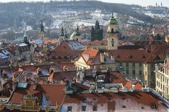 Prague roof tops and churches Royalty Free Stock Photos