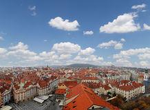 Prague roof tops and Old Town Square Stock Images