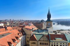 Prague roof tops panorama,birds eye view Royalty Free Stock Photos