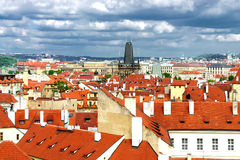 Prague roofs and cloudy sky Stock Photography