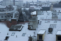 Prague roofs covered with snow Royalty Free Stock Images