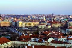 Prague roofs. Prague, Czech Republic in the sunset stock photos