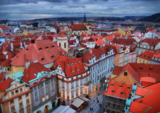 Prague roofs in the evening Royalty Free Stock Photography
