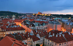 Prague roofs by night Stock Photography
