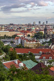 Prague roofs. Panorama before sunset overlooking Vltava river, Charles bridge and the Old Town stock photography