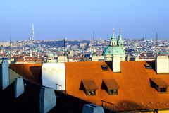 Prague roofs in the sunset. Prague, Czech Republic in the sunset royalty free stock photo