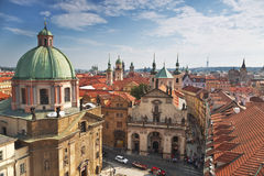 Prague roofs. Top view stock images
