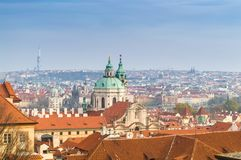 Prague roofs view with The Church of Saint Francis of Assisi in the center, Prague, Bohemia, Czech Republic stock image
