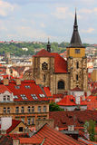 prague rooftops Arkivfoto