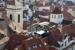 Prague rooftops cafe Stock Photography