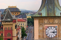Prague Rooftops, Clock Tower Stock Images