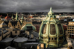 Prague rooftops and Obecni Dum & x28;Municipal House& x29;, view from Pode Stock Image