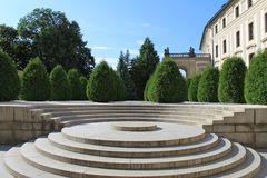 Prague - round stairs at Prague castle. Round stairs in the small square at Prague castle Royalty Free Stock Photos