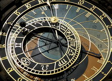 Prague's astronomical clock on Old Town Square. Old Town Square in Prague astronomical clock tower Royalty Free Stock Images