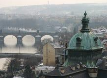 Prague's bridges. Misty view of Prague's bridges (including Charles Bridge royalty free stock photo
