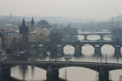 Prague's bridges. Misty view of Prague's bridges (including Charles Bridge royalty free stock image