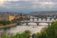 Prague`s bridges - pictur during sunset royalty free stock images