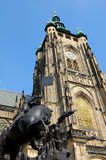 Prague's cathedral. Tower of Saint Vitus cathedral in Prague Royalty Free Stock Images