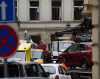 Prague's gas explosion at 29th April 2013 Stock Photos