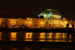Prague's National Theatre. The National Theatre illuminated at night in Prague, Czechoslovakia Royalty Free Stock Images