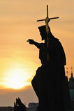 prague s silhouette Royaltyfri Fotografi