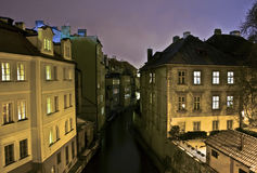Prague's Venice. Part of Prague (capital of Czechia) known as Prague's Venice at night Stock Photos