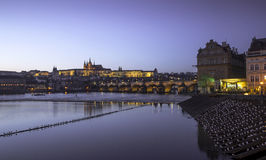 Prague Saint Vitus Cathedral and Charles Bridge at night Stock Photo