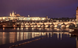 Prague Saint Vitus Cathedral and Charles Bridge at night, Czech Stock Photos