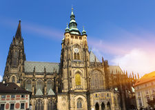 Prague. Saint Vitus cathedral. In a sunny day royalty free stock image