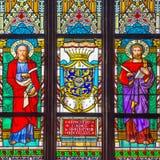 Prague Saint Vitus Religious Vitrage Windows Stock Image