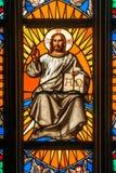 Prague Saint Vitus Religious Vitrage Windows Stock Photo