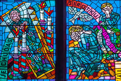 Prague Saint Vitus Religious Vitrage Windows Royalty Free Stock Photo