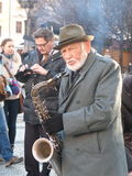 Prague saxophonist. Amazing music on the streets of Prague Stock Images