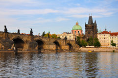 Prague Scene. View of Prague with Bridge and River Stock Photos