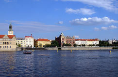 Prague Scene. View of Prague from Vltava River royalty free stock photo