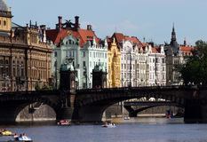 Prague Scene. View of Prague from Vltava river royalty free stock image