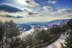 Prague scenery. With Vltava bridges Stock Photos