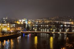 Prague scenic destination for holidays by night Royalty Free Stock Image