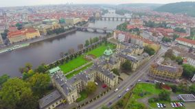 Prague Seat of Cabinet government of Czech Republic aerial. Stock footage stock footage