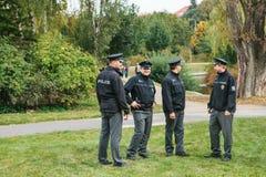 Prague, September 23, 2017: Celebrating the traditional German beer festival called Oktoberfest. Police protect public. Prague, September 23, 2017: Celebrating Stock Image