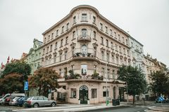 Prague, September 24, 2017: The corner of the traditional building with the Czech architecture with balconies and royalty free stock photography