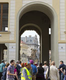 PRAGUE, SEPTEMBER 15: The crowd of tourists near main entrance in The Prague Castle on September 15, 2014 in Prague, Czech Republ Royalty Free Stock Photography
