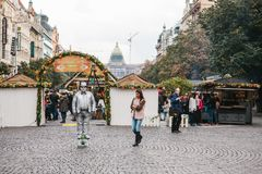 Prague, September 25, 2017: A man who pretends to be a statue for the entertainment of tourists in the main square of royalty free stock photo