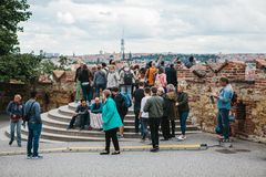 Prague, September 18, 2017: People on the observation deck admire the beautiful views of the city and communicate. Prague is one of the favorite cities for royalty free stock images