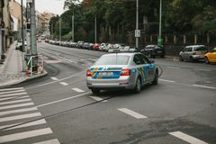 Prague, September 24, 2017: A police car is driving along a city street. Protection of public order by the police.  royalty free stock image