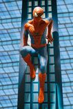 A human-sized figure of the Spiderman character in a toy store Hamleys. Prague September 29, 2018: Prague, September 29, 2018: A human-sized figure or wax figure royalty free stock images