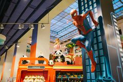 A human-sized figure of the Spiderman character in a toy store Hamleys. Prague September 29, 2018: Prague, September 29, 2018: A human-sized figure or wax figure stock photos
